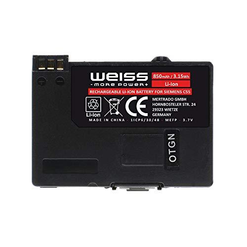 Weiss Akku für Siemens C55, A52, A55, A56, A70, A75, C60, M55, MC60, S55, S56, Gigaset SL37H, SL1, SL3, SL55, SL56, SL100, SL150, S440, 850mAh Li-Ion Akku ersetzt Siemens EBA-510, Akku für Handye