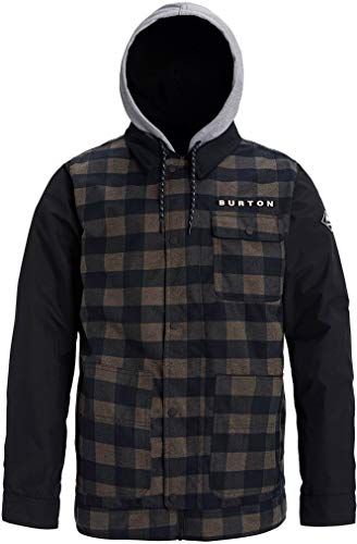 Burton Mens Dunmore Jacket, True Black Heather Buffalo Plaid, Medium