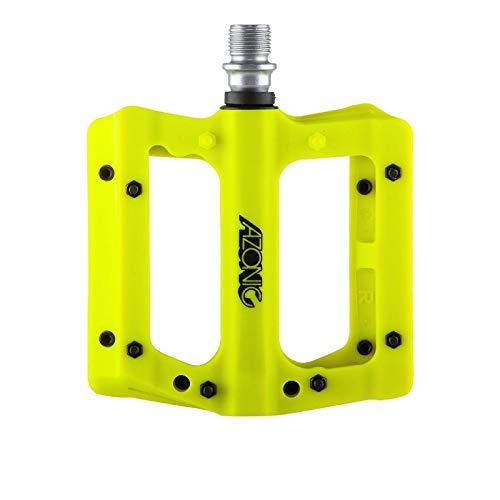AZONIC Coppia pedali Blaze fibra di vetro nylon giallo fluo (Pedali Bmx Freeride) / Pair pedals Blaze fiberglass nylon neon yellow (Bmx Freeride Pedals)