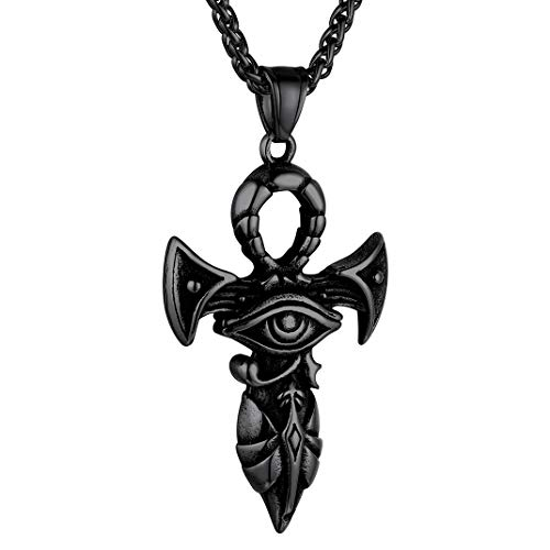 GOLDCHIC JEWELRY Black Eye of Horus on Ankh Cross Anubis Necklace Ancient Egyptian Symbol of Protection Amulet Jewelry