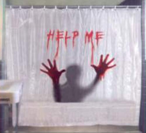 Foxxeo Help Me Horror Duschvorhang ALS Halloween Dekoration