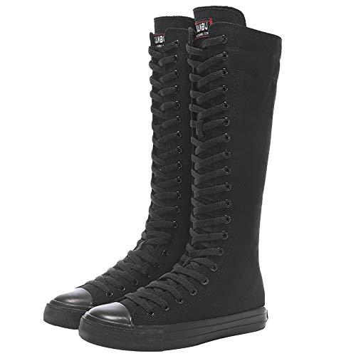 Jamron Mädchen Damen Modisch Knie Hoch Schnüren Segeltuch Stiefel Rein Schwarz Leinenschuhe Reißverschluss Tanzschuhe SN811 EU38