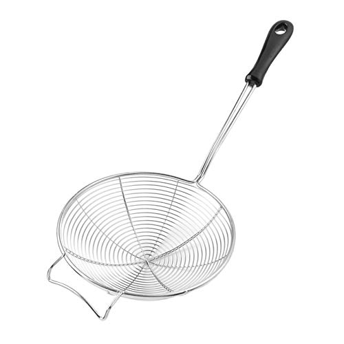 COMFECTO Asian Spider Kitchen Strainer 6.1 inch with Spiral Mesh Food Fryer Strainer and Heat Resistant Ladle Handle, Stainless Steel Strainer Spoon Colander Scoop to Drain Pasta Deep Fry Skimmer Oil