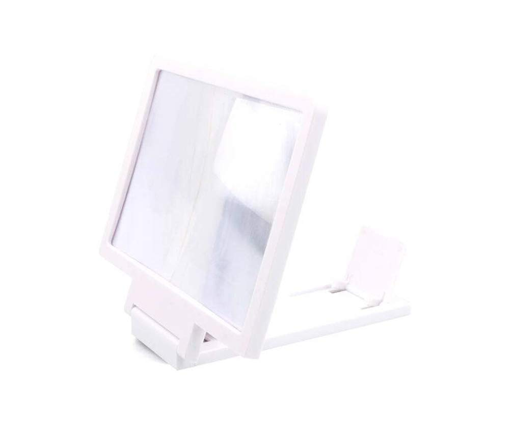 Compatible with All Smartphone HD Portable Phone Screen Enlarger with Foldable Holder Stand Magic Box 8 3D Screen Magnifier Frame for Smartphone Screen Amplifier White