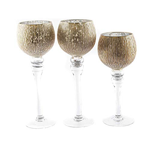 knuellermarkt.de Kelch Glas-Windlicht Set DREI teilig Deko Hochzeit Pokal Design Wohnaccesoires