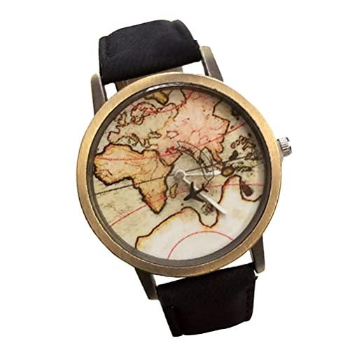 UKCOCO Reloj de Lona Pulsera con Mapa del Mundo Reloj de Pulsera con Patrón de Mapa Reloj con Esfera Relojes Casuales sin Número para Mujer Joyería para Hombre
