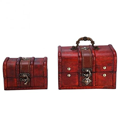 2pcs / Set Clásica Joyería Hecha A Mano De Madera De Almacenamiento Caja del Baúl De La Caja De Madera De Época Locked Pendientes Organizador del Tesoro Cofre Holder (Color : 1)