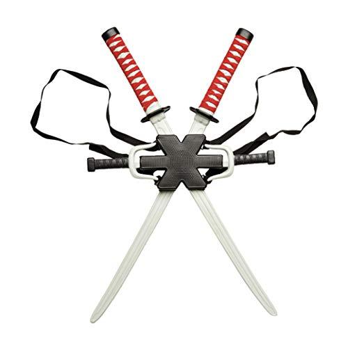 Include due spade ninja giocattolo, due coltelli ninja giocattolo e uno zaino. Tema: supereroi dei film e della TV. Prodotto progettato e confezionato negli Stati Uniti.