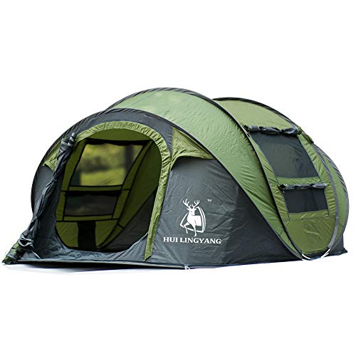 ZED- Tienda de campaña desplegable para camping al aire libre para tiendas de campaña de apertura rápida impermeable para 4 personas con bolsa de transporte