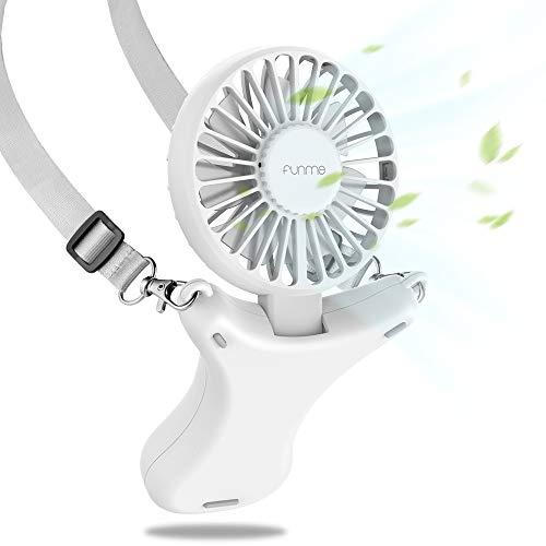 Funme USB Ventilator Halskette Lüfter Faltbar 3350mAh Batteriebetriebener Handventilator Bis Zu 17 Betriebsstunden 3 Geschwindigkeiten Eingebautes Nachtlicht für Camping im Freien Reisen Drinnen,Weiß