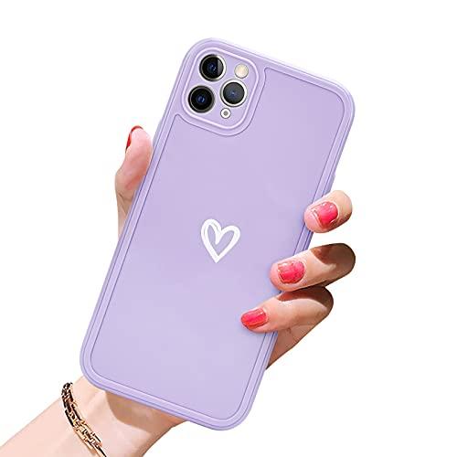 Newseego Morbido TPU Custodia Compatibile per iPhone 11 PRO Max (6.5''), Carino Heart iPhone 11 PRO Max Cover Case per Cellulare per Protettivo Custodia in Antiurto Sottile iPhone 11 PRO Max-Viola