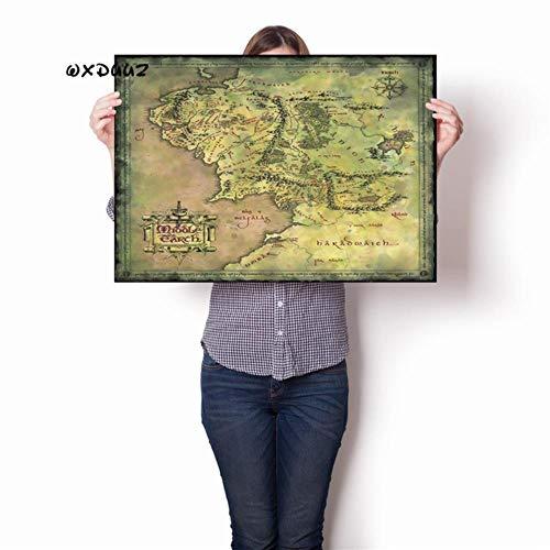 Land kaart in de familie wanddecoratie kunst Lord of the Rings oude retro poster hoge kwaliteit canvas schilderij Home Decor o32,3,21cmX30cmA4 geen Frame
