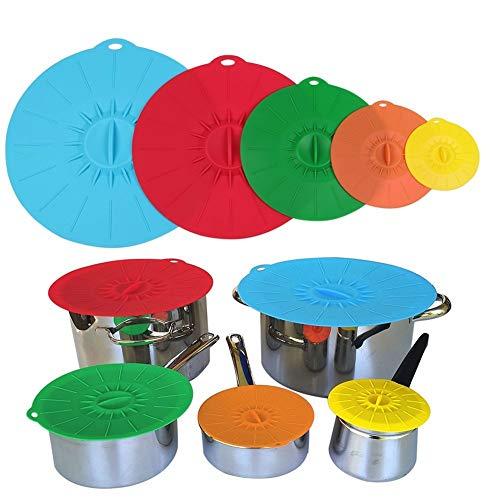 JFQ sunsine, set da 5 coperchi coprivivande in silicone, a ventosa, per scodelle, pentole e padelle, in colori assortiti. Utilizzabili in microonde, per mantenere la cucina in ordine e il cibo fresco