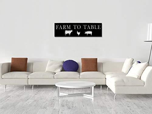 Ced454sy - Cartel de metal de granja a mesa para decoración de la casa, decoración de la pared, decoración de la cocina para colgar en la pared