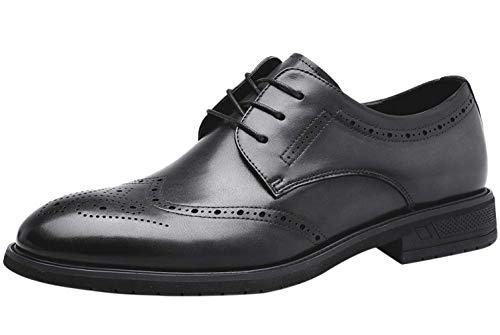 Zapatos Hombre Vestir de Piel Comodos Cordones Derby Casual Negocio Oxford Wing Boda Brogue Gris 45 EU