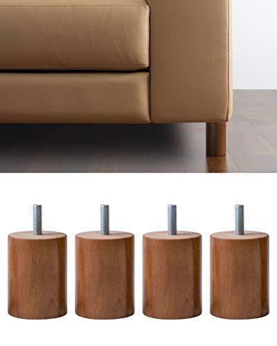 Ipea - Juego de 4 Patas de Madera de Cilindro para sofás y Muebles, Color Nogal, Altura 80 mm