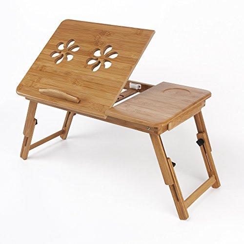 Table d'Ordinateur Portable Pliable Bois Support d'Ordinateur Portable réglable Table de lit...