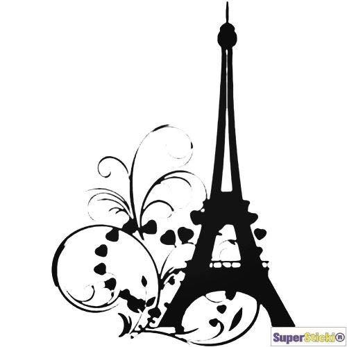 SUPERSTICKI Adhesivo decorativo de pared de aprox. 60 x 60 cm, diseño de Torre Eiffel con flores, para decoración A1169, de alto rendimiento
