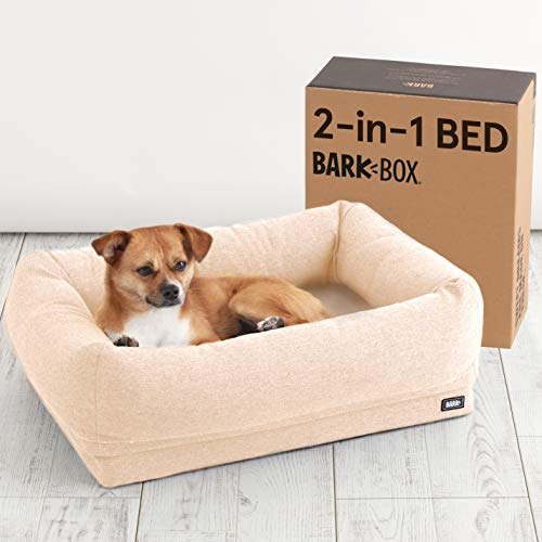 Barkbox 2-in-1 Memory Foam Dog Cuddler Bed | Plush Orthopedic Joint Relief Crate Lounger or Donut Pillow Bed, Machine Washable + Removable Cover | Waterproof Lining | Includes Toy (Small, Sand) Categories