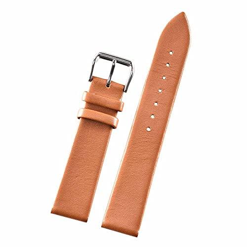 Nostalgie Correa de Reloj Banda de Reloj 12mm 14mm 16mm 18mm 20 mm 20mm Reloj de Cuero Genuino Correas de Relojes de Relojes Reemplazo (Color : Light Brown, tamaño : 22mm)