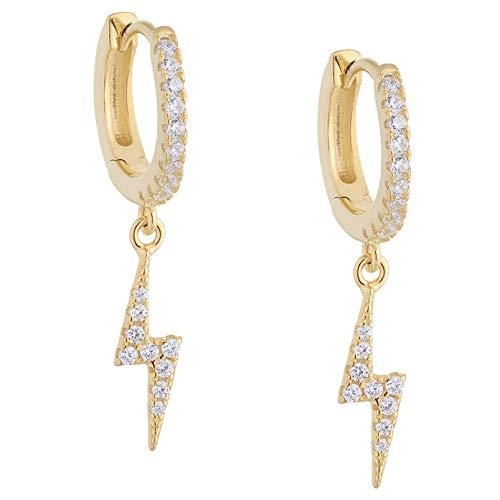 Brandlinger ® Atelier Ohrringe mit Blitz Anhänger aus vergoldetem 925 Sterling Silber. Creolen in Gold oder Silber mit Durchmesser 11,5 mm (Gold (Zirkonia))