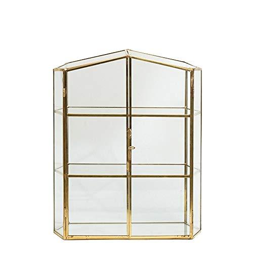 Sksngf Organisieren Sie die Box, Schmuck Lagerschrank, im europäischen Stil, 3-Schicht aus Kupfer und Glas Schmuck-Box, Retro Handmade Jewelry Speicherschrank, große Kapazität Transparent Box