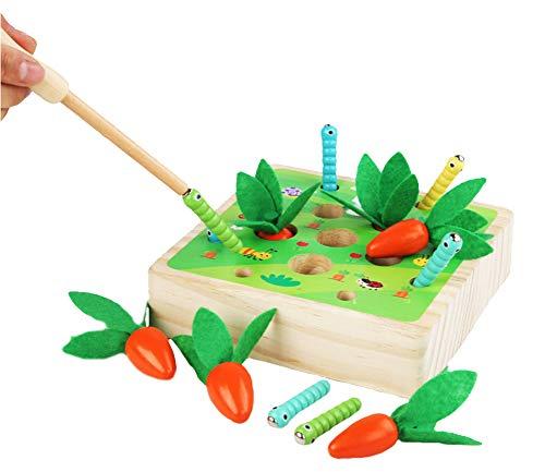 XIAPIA Holzspielzeug ab 2 Jahr | Magnetische Baby Motorik Spielzeug für 24 Monate Jungen und Mädchen | Montessori Sortierspiel Karottenernte | Lernspielzeug für Kinder als Geburtztag Geschenk