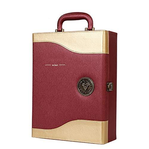 TWW Caja De Vino De Alta Gama Caja De Cuero Doble Caja De Vino Vino Caja De Embalaje De Regalo Caja De Vino De Cuero Regalos para Hombres Y Mujeres