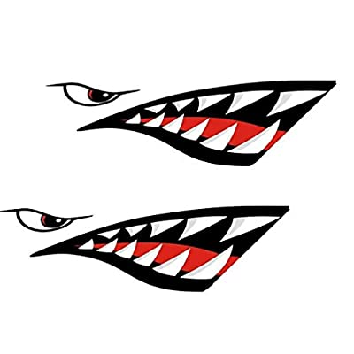 MOOCY 2Pcs Shark Teeth Mouth Reflective Decals Sticker Waterproof DIY Funny Graphics Accessories for Car Kayak Canoe Fishing Boat Truck Jet Ski Hobie Dagger Ocean Boat Decoration