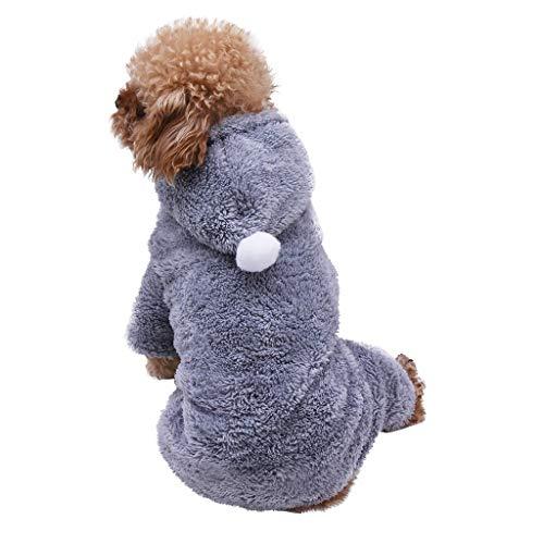 Smniao Hundebekleidung für Kleine Hunde Winter Warm Hoodies Haustier Puppy Sweatshirt Hund Schlafanzug für Katzen Kleidung Shirt (XXL, Grau)