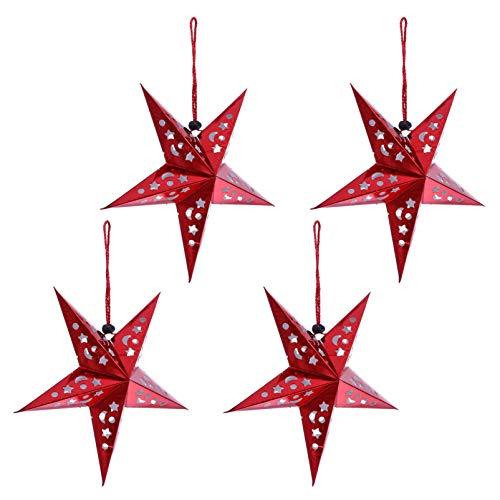 FRCOLOR Papierstern Lampenschirm Rot Papier Weihnachtssterne 30cm Faltstern mit LED Beleuchtung 4 Stück Innen Außen Weihnachten Hochzeit Geburtstag Festival Party Hängende Weihnachtsdeko