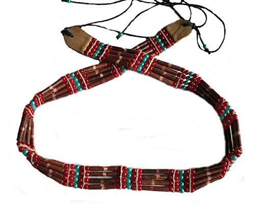 Hejoka-Shop Indianer GÜRTEL BRAUN 85-90 cm. Plus Bänder Bone Hairpipes echte Knochenröhrchen Knochengürtel Perlen