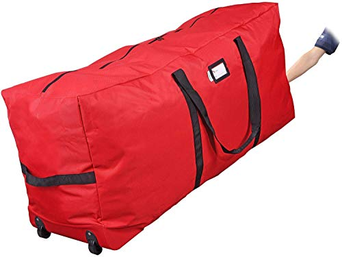 Primode Christmas Rolling Tree Storage Bag, Fits Up to 7.5 Ft. Tall Disassembled Holiday Trees, 22' H X 16' W X 50' L, Large Heavy Duty Storage Container with 2 Wheels and Handles (Red)