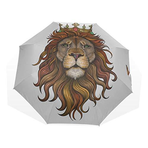 Reiseregenschirm Schöne Lion Portrait Anti Uv Compact 3 Fold Art Leichte Faltbare Regenschirme (Außendruck) Winddicht Regen Sonnenschutz Regenschirme Für Frauen Mädchen Kinder