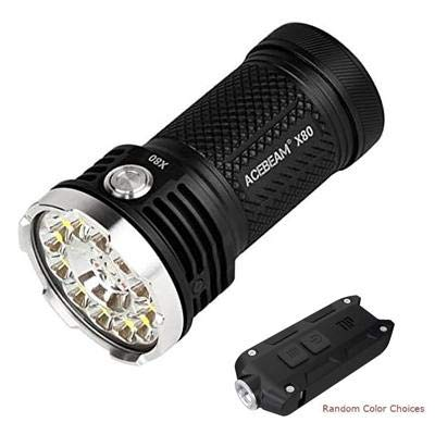 ACEBEAM Combo X80 CREE XPE2-R2 630nm Flashlight/Searchlight -25,000 Lumens (Batteries Included) w/Tip 360 Lumens Keychain Light w/Color Options