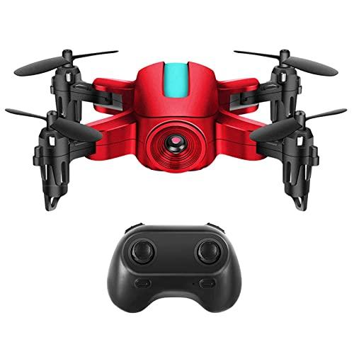 FMHCTN Drones con cámara, cuadricóptero de Drones ultraligeros y Plegables, transmisión en Tiempo Real 5G, Foto/vídeo de Gestos, dron de Largo Alcance para Principiantes Blanco (Rojo)