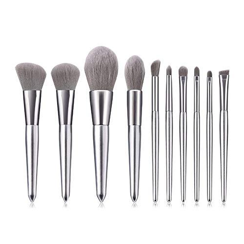 HFDXG Lot de 10 pinceaux de maquillage pour les lèvres, fond de teint et beauté (argenté)