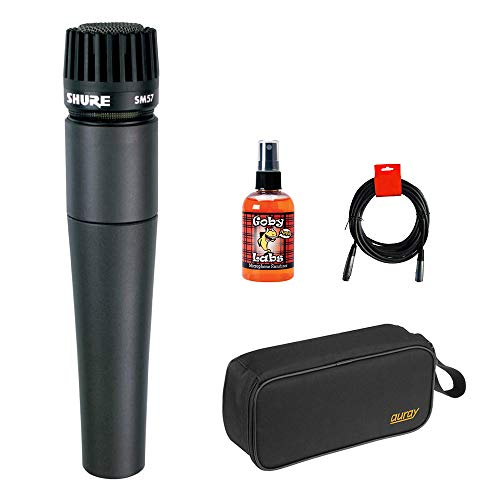 Shure SM-57 Cardioid Dynamic Instrument Microphone with Wide Mouth Case, Mic Sanitizer Spray & XLR Cable Bundle