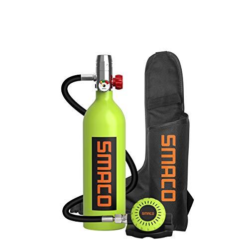 SMACO Equipo de Oxígeno para Bucear Bombona Oxigeno Portatil Mini Botella de Buceo de 1 litro con Capacidad de 15-20 Minutos Buceo De Oxígeno del Mini Tanque(Entrega en 10 días)
