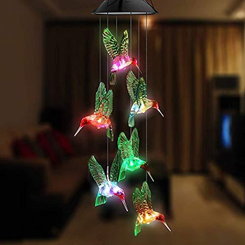 Dizie Solar-Windspiel, LED, Vogel-Form, Windspiel mit Kolibri, LED, Farbwechsel, mit drehbarem Haken