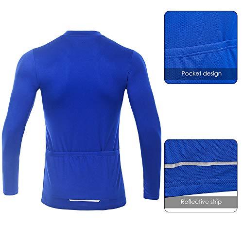 SKYSPER Radtrikot Herren Fahrradbekleidung Blaue Langarmjacke MTB Mountain für den Herbst Bequem Atmungsaktiv für Outdoor-Sportarten Fahrrad - 4