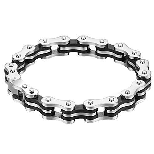 StrongAn Cadena de bicicleta para hombre Pulsera de acero inoxidable Pulsera de cadena de acero plegable Antialérgico Plata pulida horizontalmente