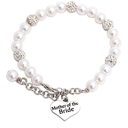 Mother of the Bride Pearl Bracelet Wedding Gift Jewelry (White)