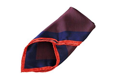Goldsman Herren Einstecktuch handrolliert aus reiner Seide in edler Geschenk-Box. Elegantes Seiden-Tuch Paisley, Karo, Blumen-Muster zum Sakko oder Anzug. (dunkelblau rot)