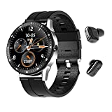 Hold Young Smart Watch with Fitness Tracker,Heart Rate Blood Oxygen Sleep Monitor,Smartwatch with Bluetooth Earbuds Wireless Headphones for Samsung Android Phones and iOS iPhones for Men Women (Black)