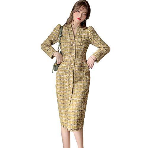 Wuyuana Abrigo de mujer con un solo pecho y un vestido de abrigo para mujer (color: dorado, tamaño: grande)