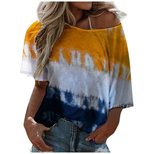 KIMODO Oberteile Tunika Casual Frauen Stehkragen Beiläufige Lose Tunika Tops T Shirt Bluse Gradient Damen Kurzarm (Orange, XL)