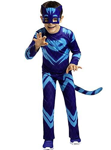 Funidelia | Catboy PJ Masks Kostüm 100{a87bc37b7d3dea7d68fcb2135746a9eff784a574cd52f474fe9b02192e24952b} OFFIZIELLE für Jungen Größe 5-6 Jahre ▶ Zeichentrickfilm, Catboy, Eulette, Gecko - Farben: Bunt, Zubehör für Kostüm - Lustige Kostüme für Deine Partys