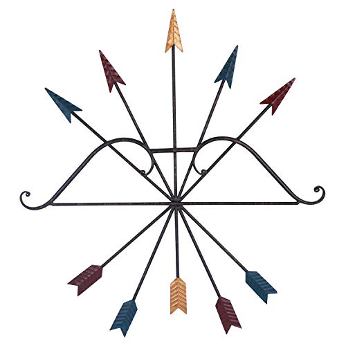 Yamfurvo Colorful Iron Metal Bow and Arrow Wall Art Decor, Native American Style Metal Arrows,Wall Decoration, Wall Sculpture,25 x 27 Inches