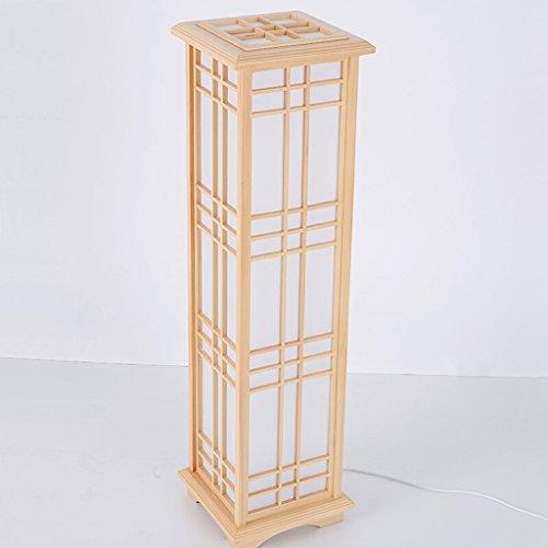 Lámpara de pie Lámpara de pie de cubo de madera japonesa, actividades creativas diseño cubierto, lámpara de pie de estudio de habitación simple coreano, H90cm lámpara de lectura